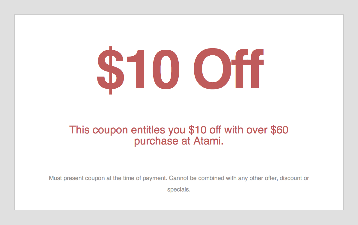 Atami Grill  Coupon Acworth  GA